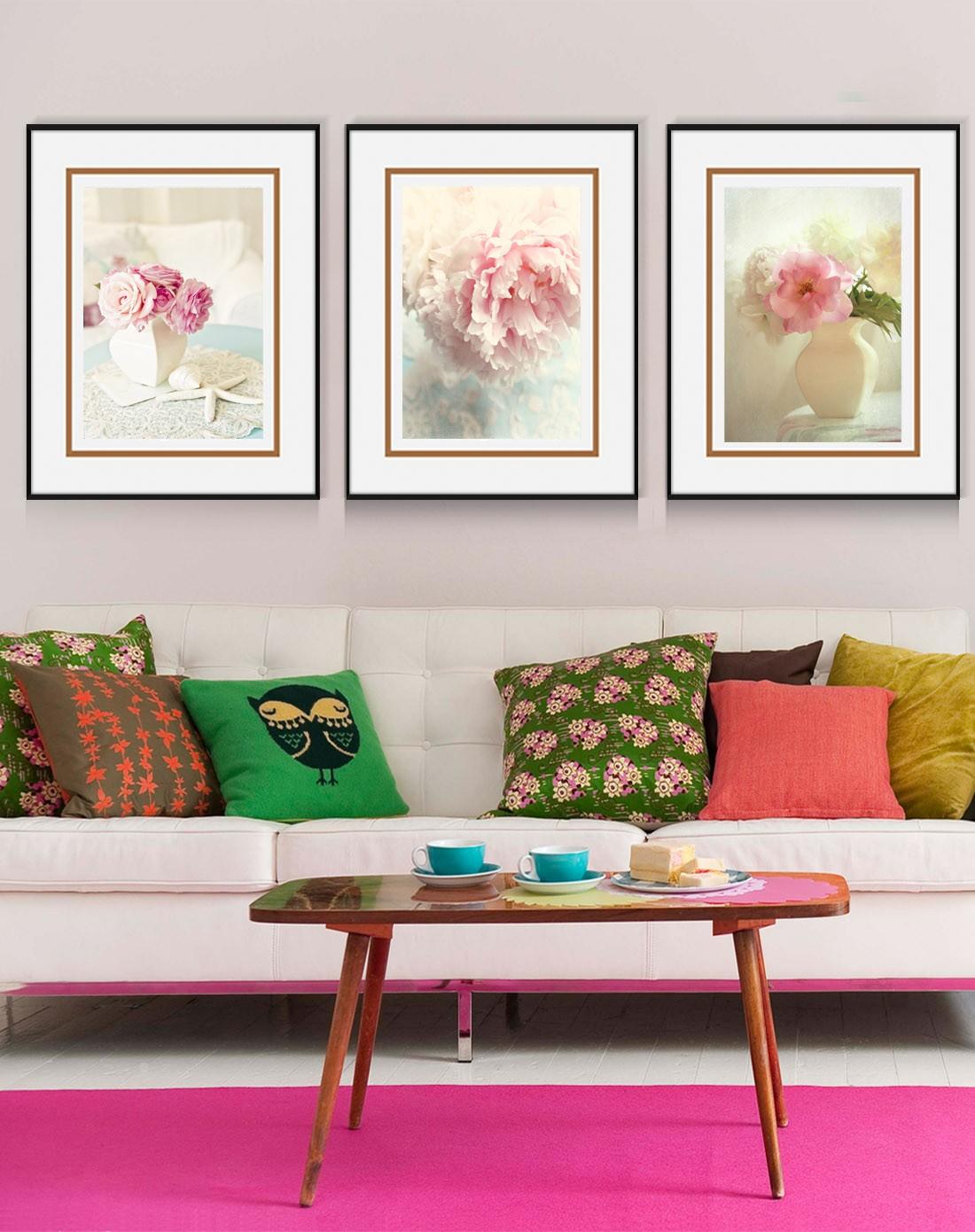 柠檬树家居装饰专场小清新装饰画 粉色牡丹wp018jk