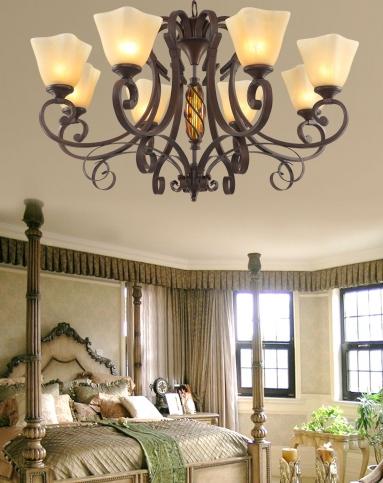 美式乡村吊灯复古铁艺客厅灯具