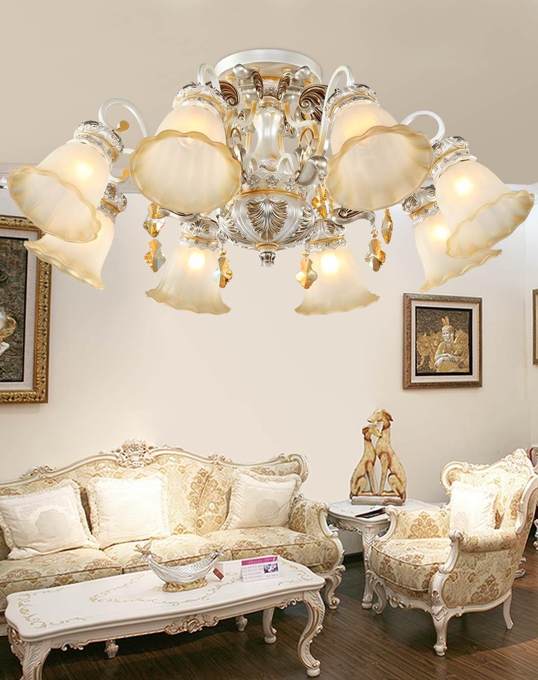歐式客廳燈飾 8頭矮戶型燈具