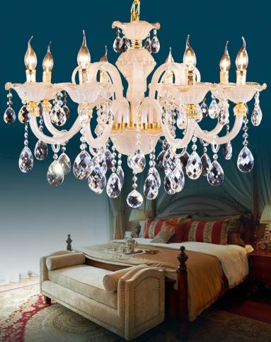 歐式客廳吊燈 臥室簡約水晶蠟燭燈飾