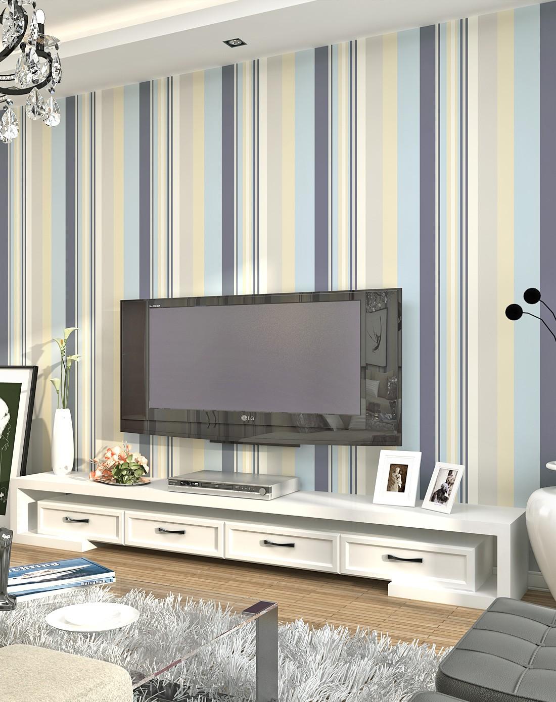 蓝白条纹地中海简约唯美无纺布环保壁纸
