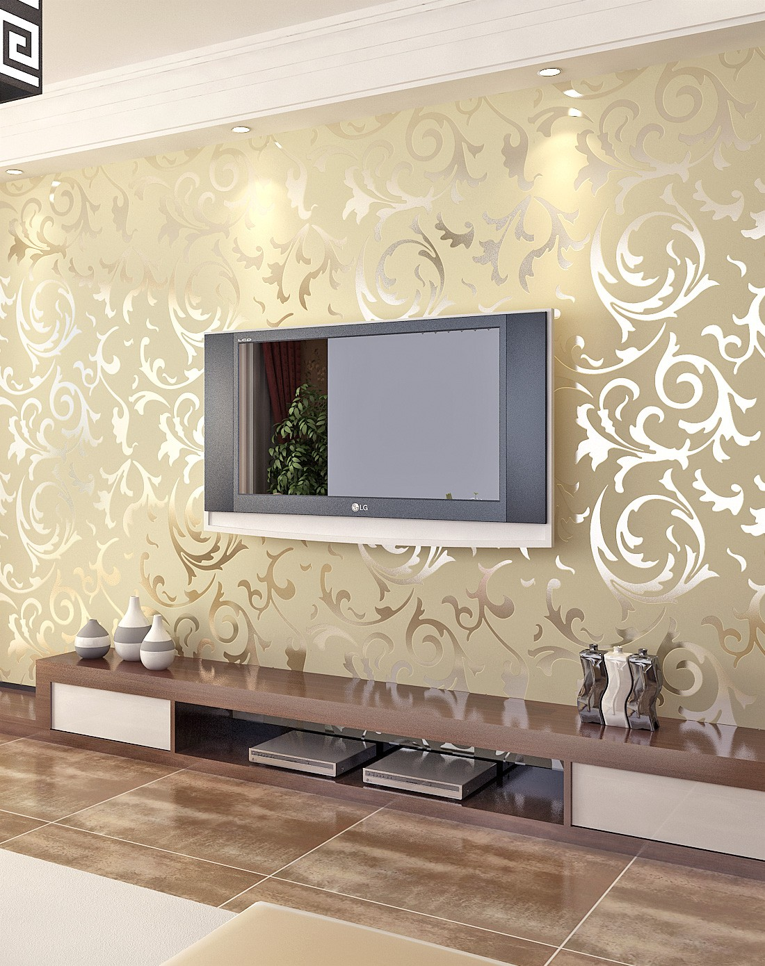 米黄色3d立体植绒欧式背景墙壁纸