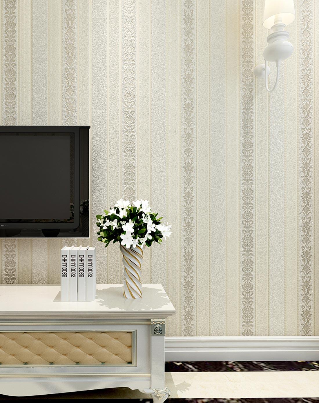 米素墙纸专场米白3d欧式竖条纹无纺布墙纸ms-20907