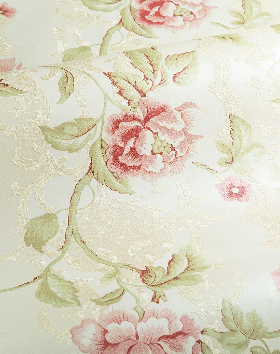 卧室温馨无纺田园大花墙纸