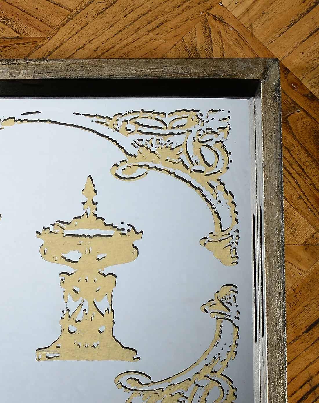 复古风尚洛可可花纹镜面长方形托盘 b款