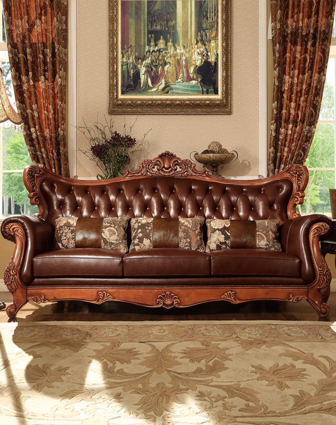 > 美式全实木雕花真皮沙发组合
