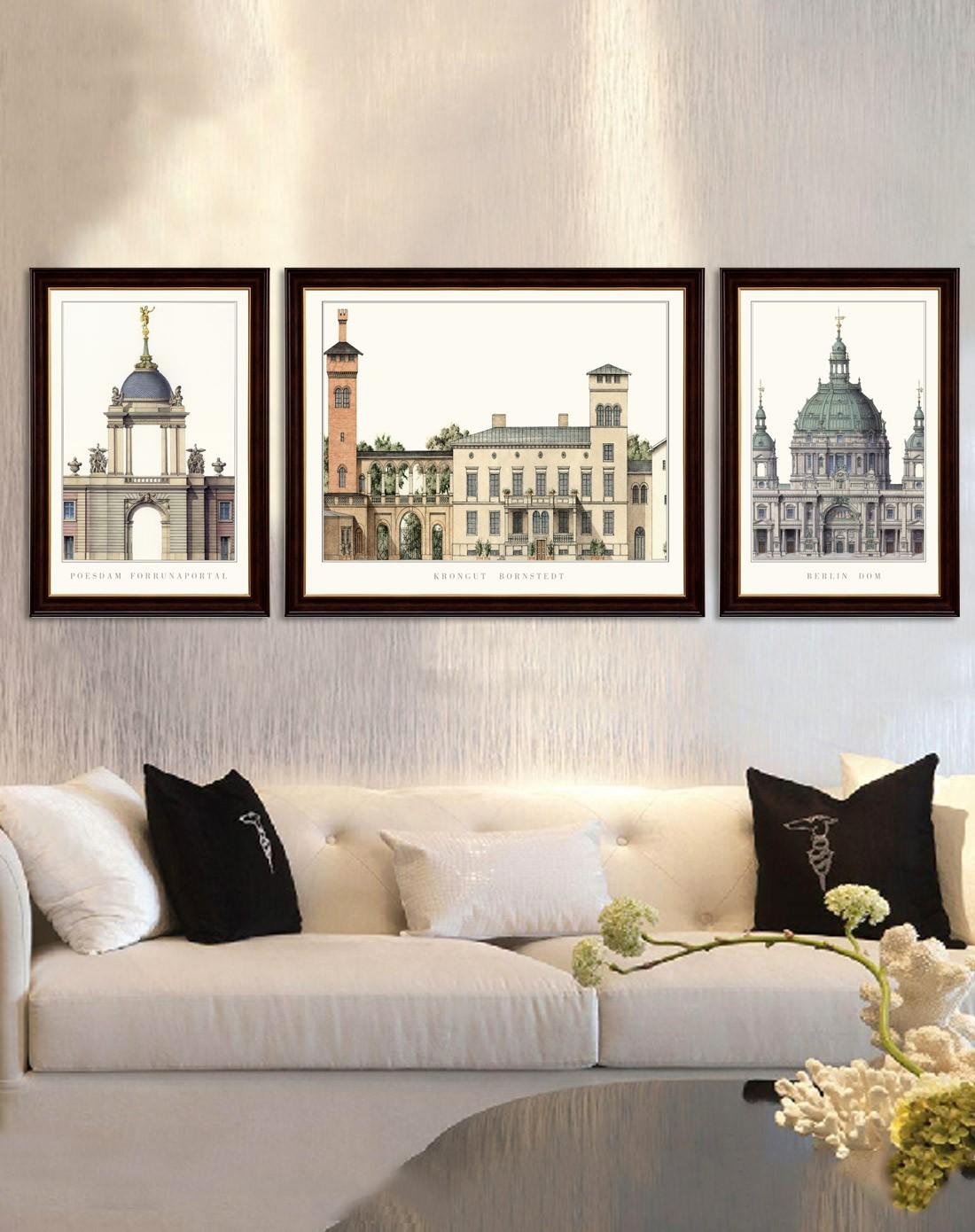 柠檬树家居装饰专场美式客厅装饰画 城市建筑k10-1117