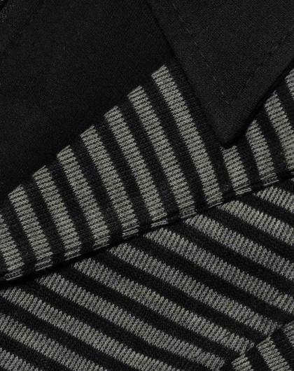 时尚黑白条纹翻领马甲