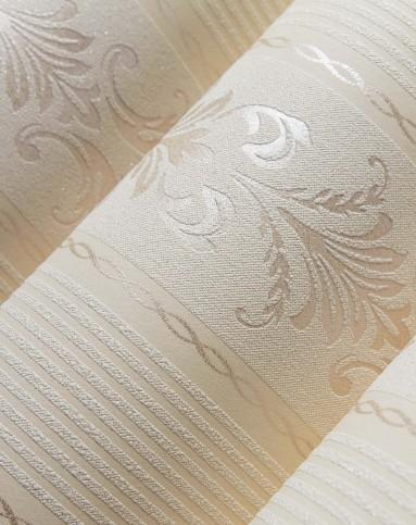 浅黄3d欧式竖条纹无纺布墙纸
