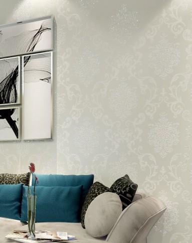纸尚美学墙纸专场米白色3d欧式大马士无纺布墙纸8513