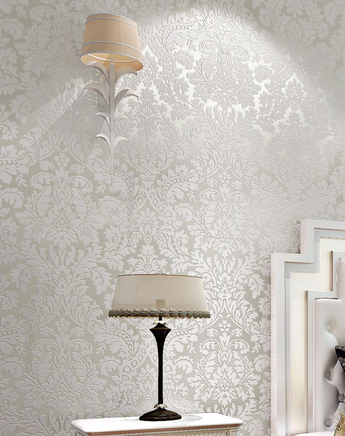 纸尚美学墙纸专场米白色3d植绒欧式简约大马士革墙纸