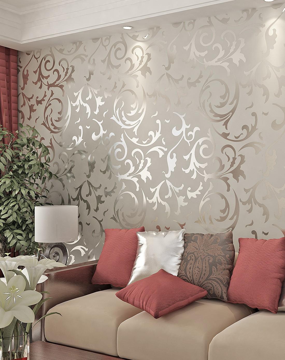 米灰色3d立体植绒欧式背景墙壁纸
