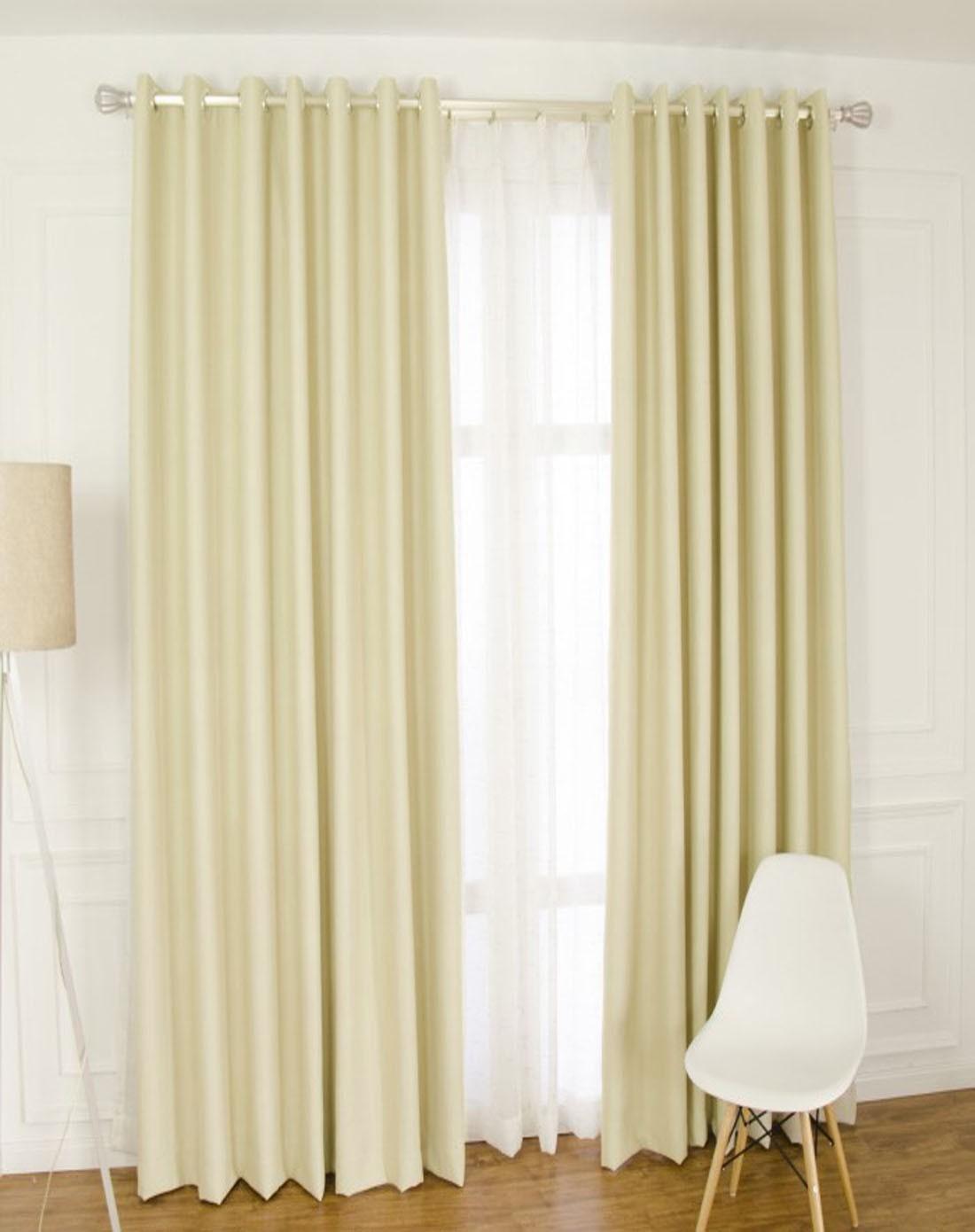 澳美斯rmis布艺米黄色仿真丝客厅全遮光布艺窗帘