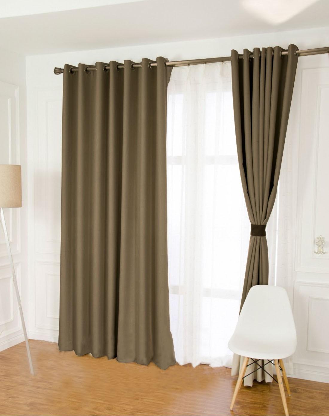 棕色仿真丝客厅全遮光布艺窗帘 4.2*2