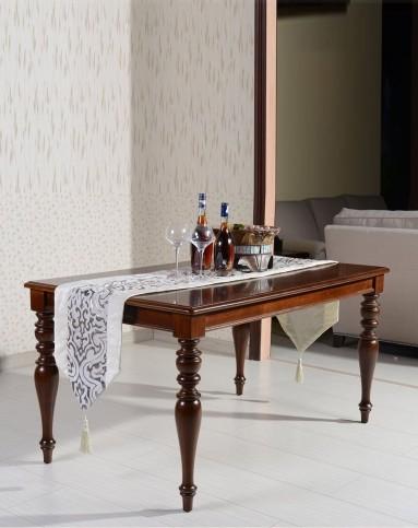美式实木雕花长方形餐桌