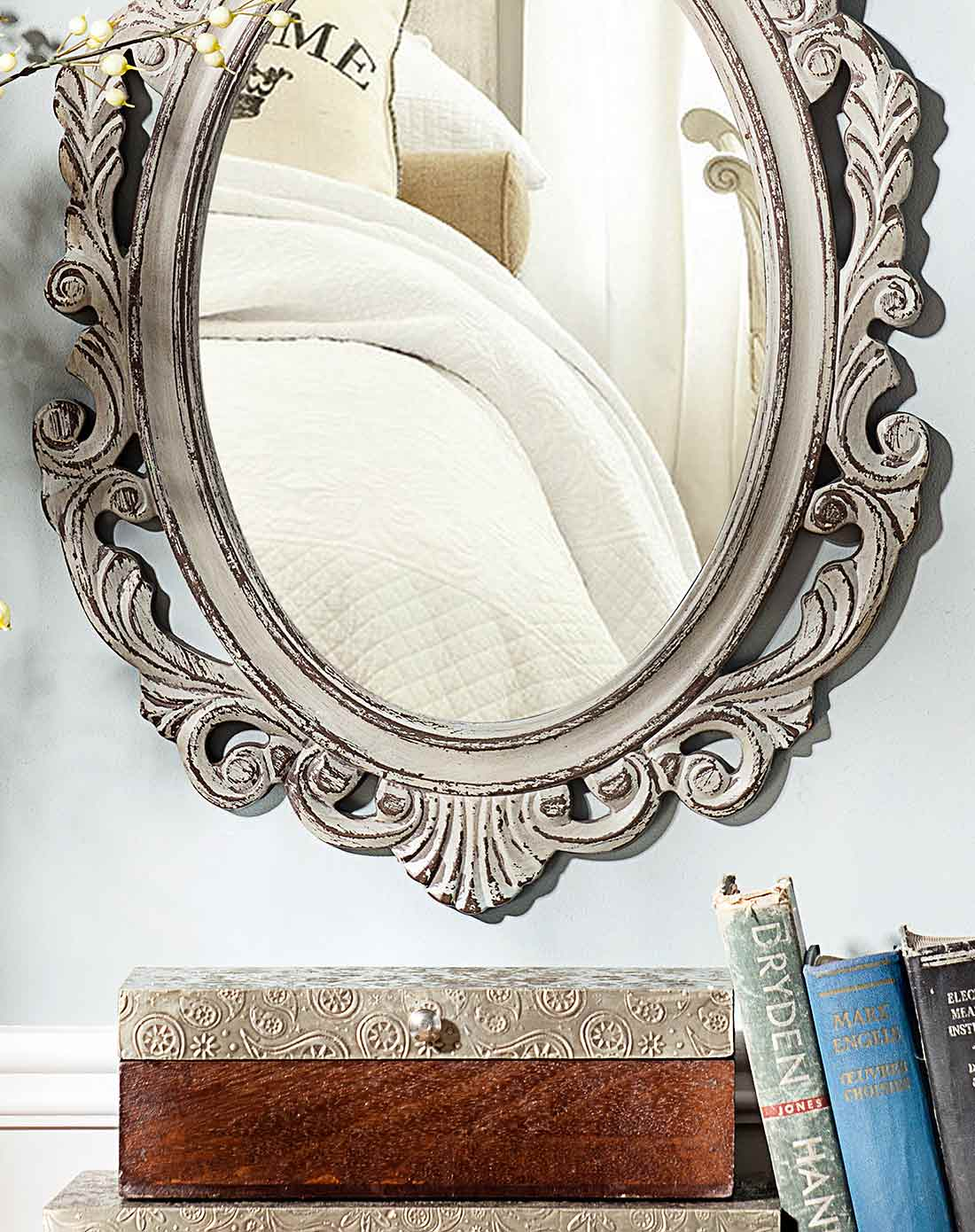 卡塞雕花墙面镜子 b款 复古灰色图片