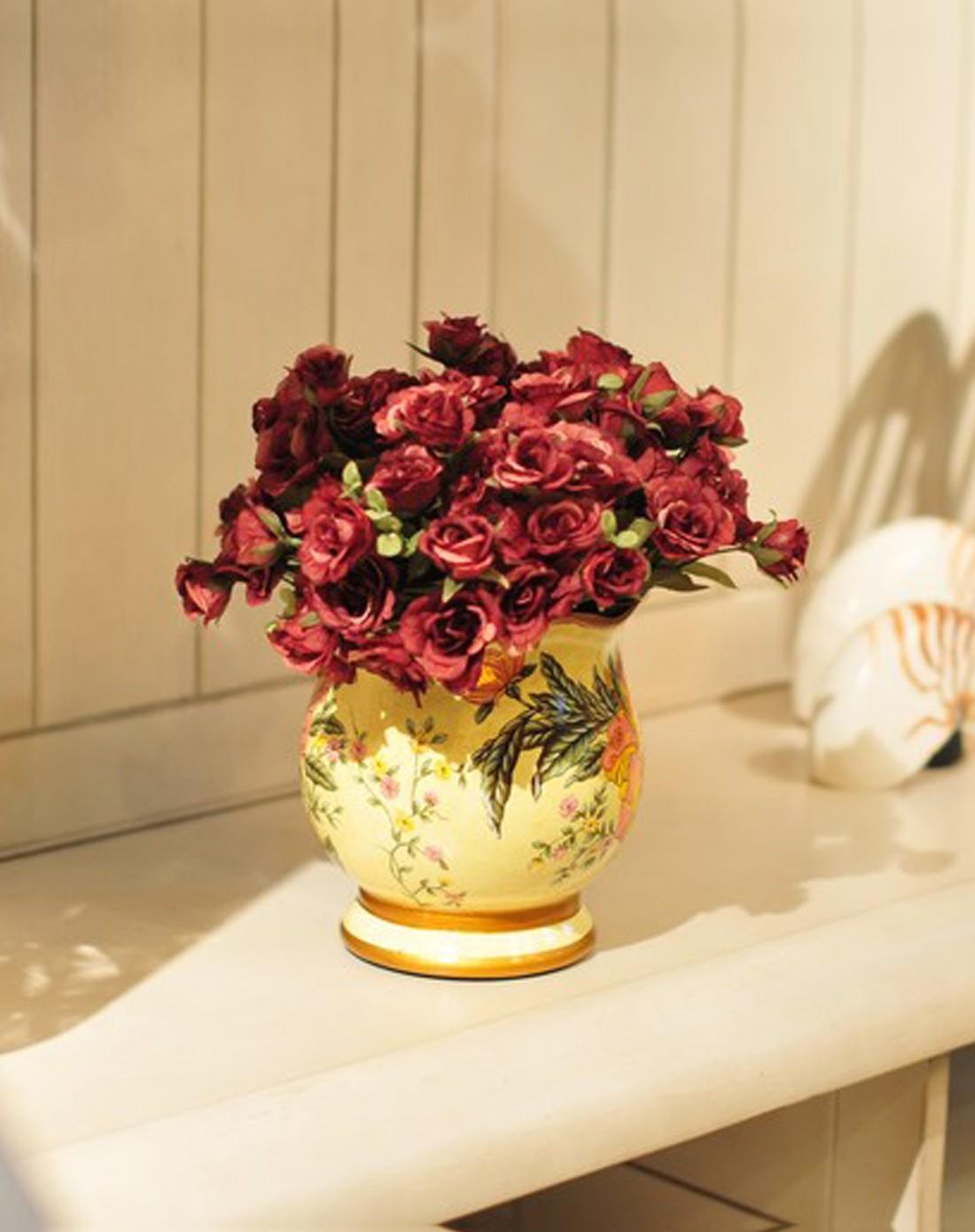 朵兰舍doolans欧式彩绘陶瓷创意装饰花瓶-含花hqdw