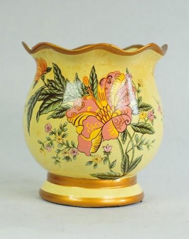 欧式彩绘陶瓷创意装饰花瓶-含花