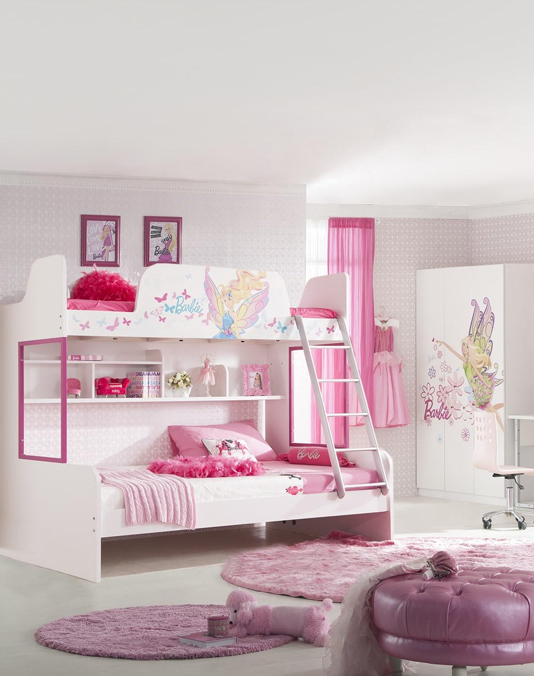 芭比仙子1.5米高低床 三门衣柜