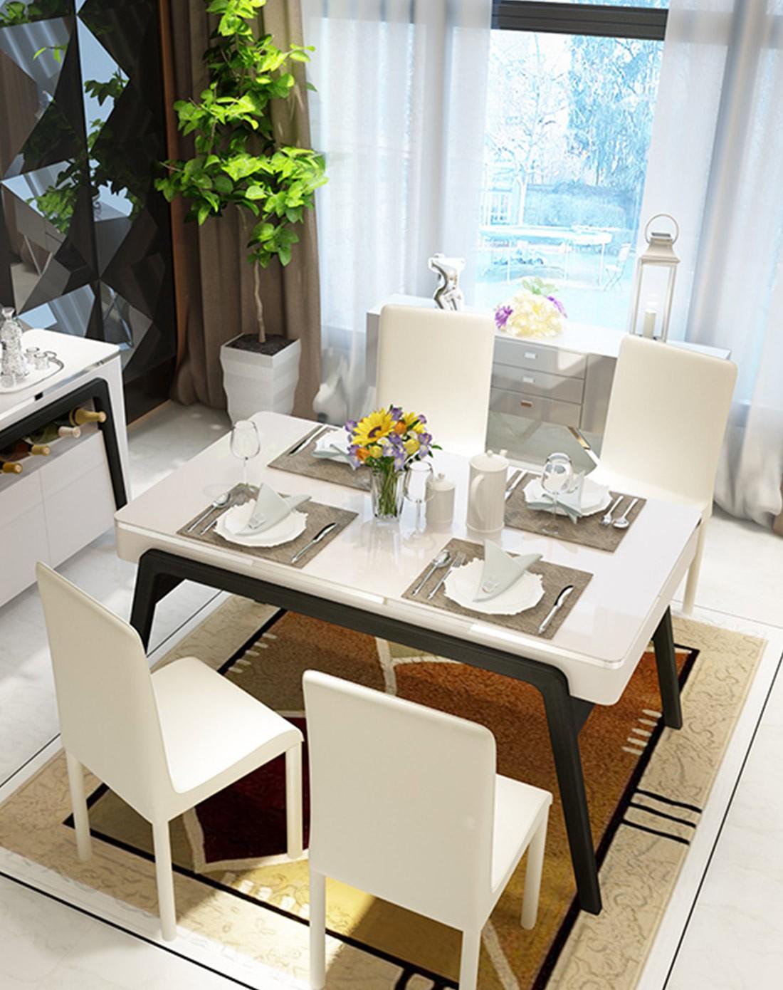 后现代简约小户型黑白钢化玻璃实木餐桌图片