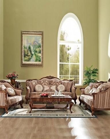 美式复古实木布艺沙发 组合图片