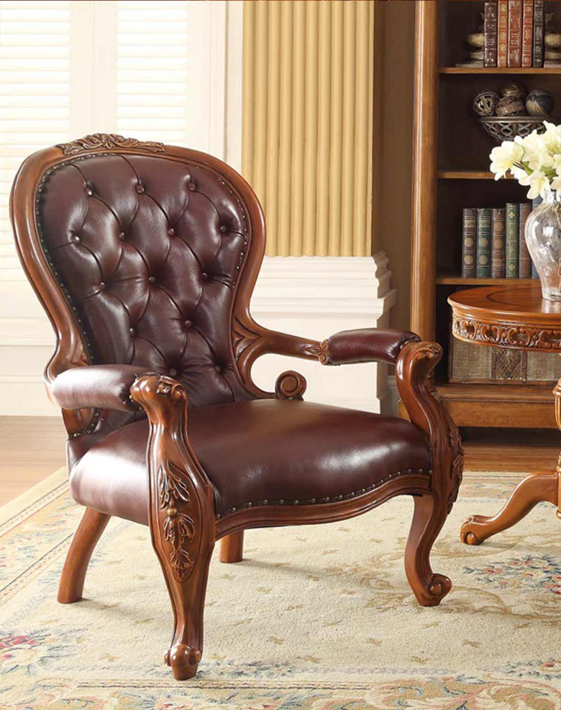 美式实木真皮休闲椅