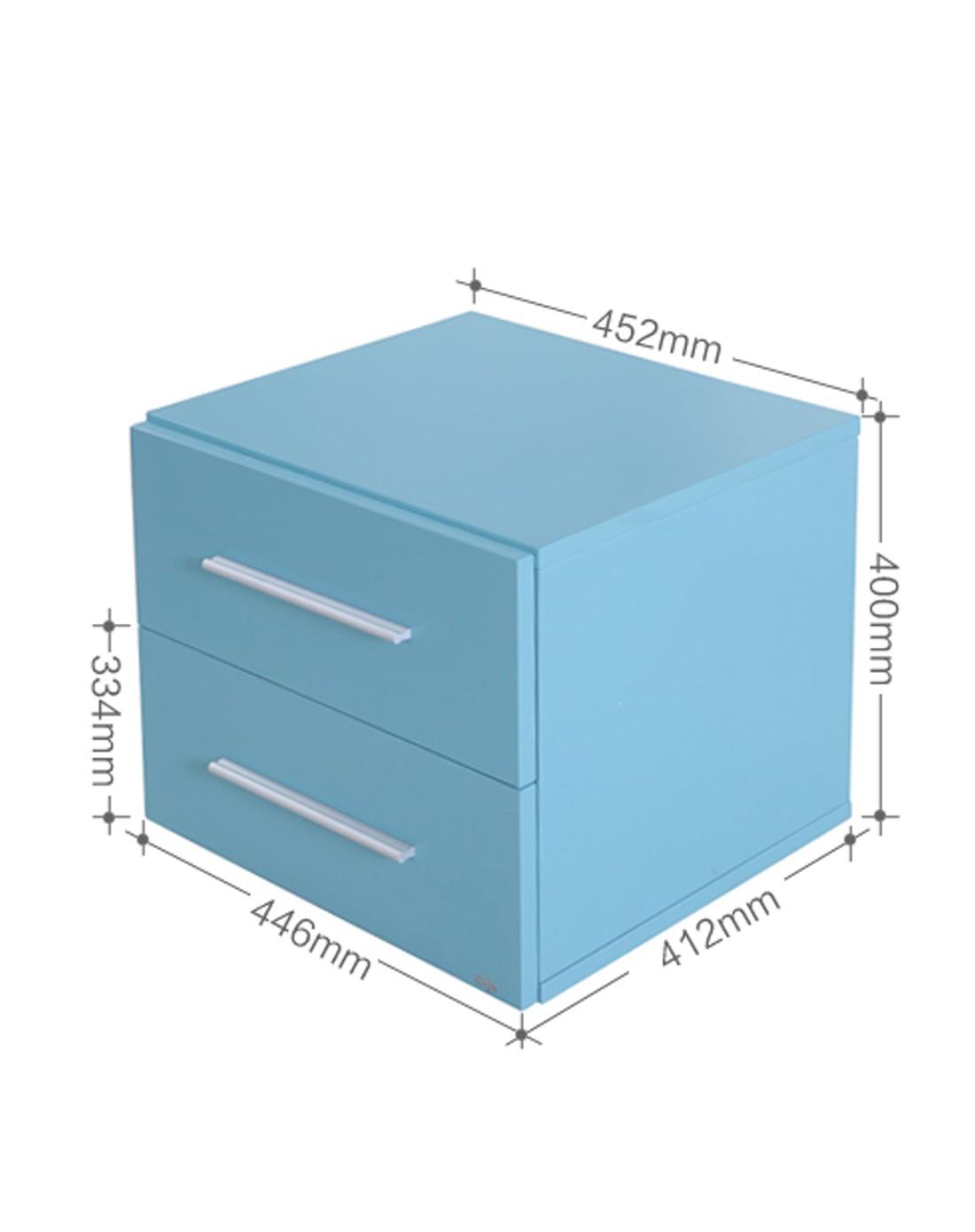 恩嘉依 现代简约床头柜 时尚蓝色烤漆床边柜