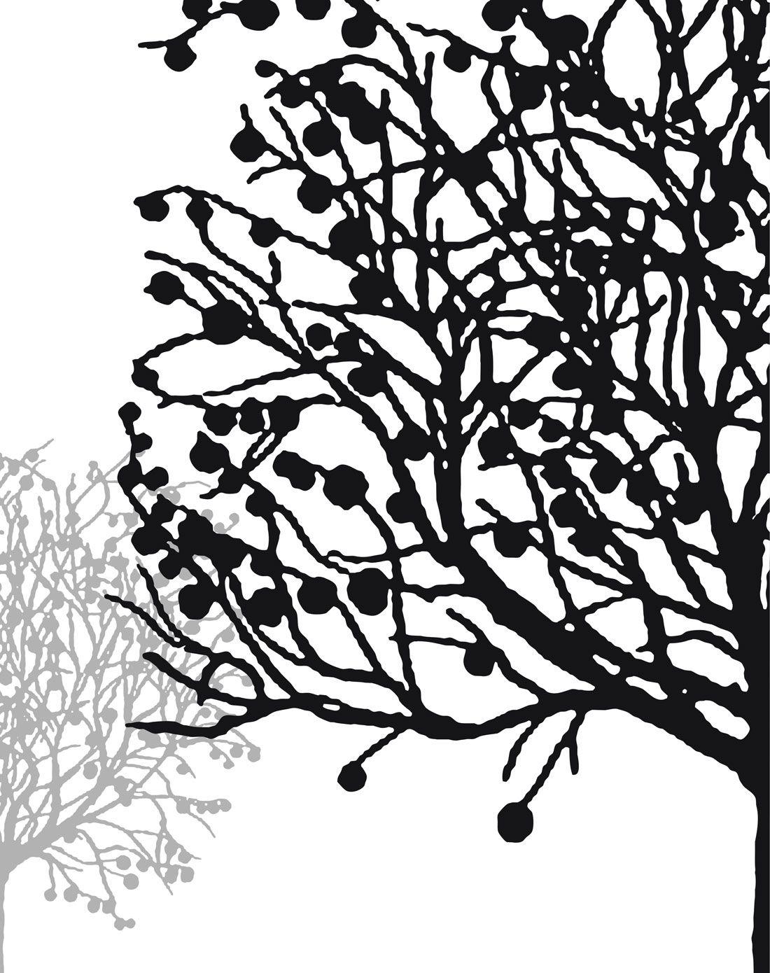 > 抽象艺术简约黑白装饰画 幸运树