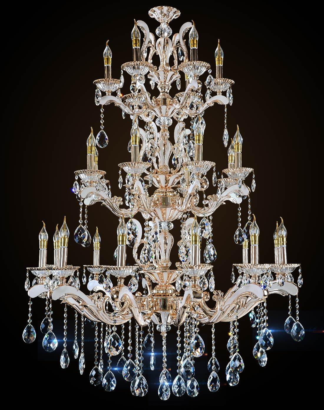 三层欧式水晶吊灯 锌合金