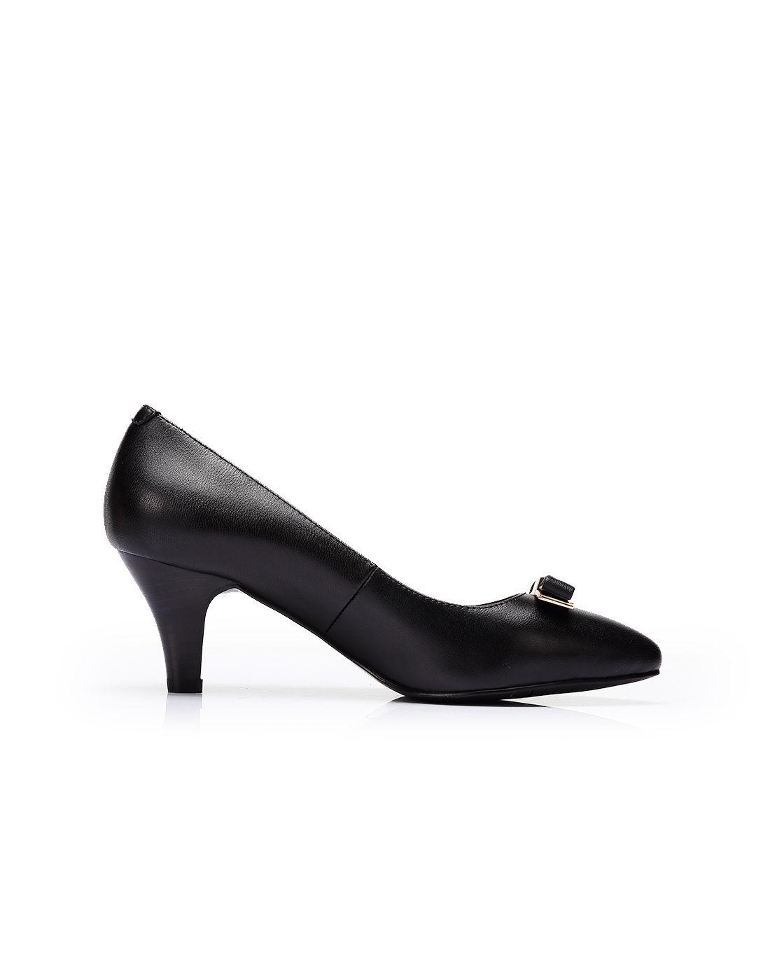 2016春款黑色羊皮蝴蝶结尖头高跟单鞋