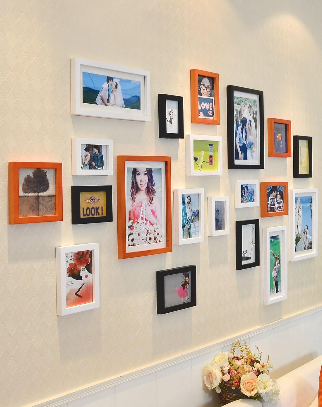 20框适合结婚照的照片墙黑白胡组合