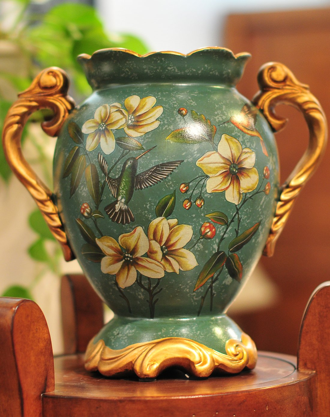 朵兰舍doolans欧式彩绘陶瓷双耳装饰花瓶摆件hqdw011