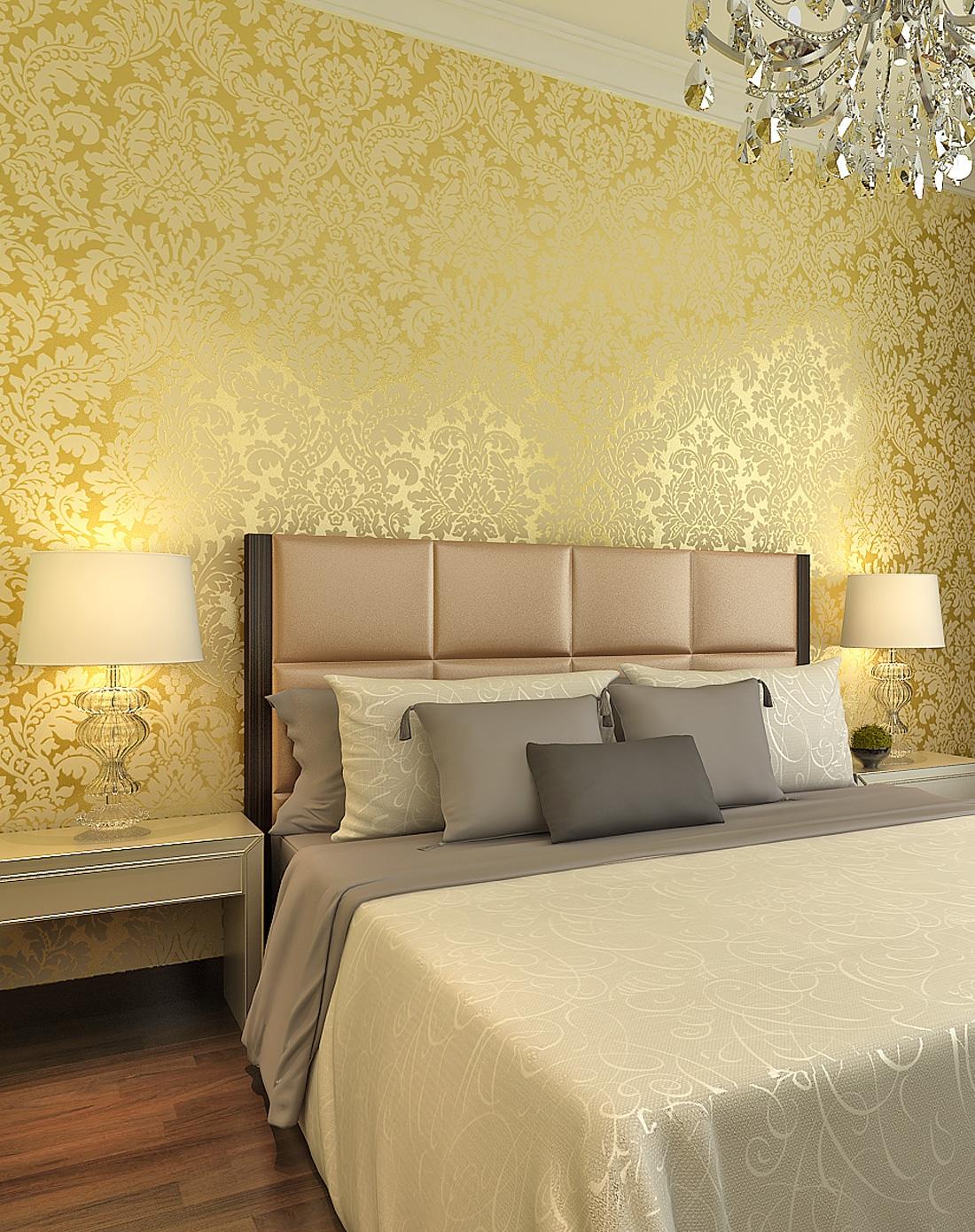 欧式简约大马士革3d植绒墙纸图片