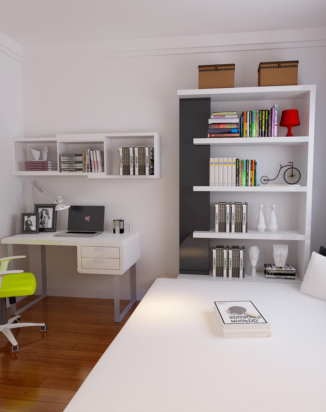 现代简约书桌书架书柜组合