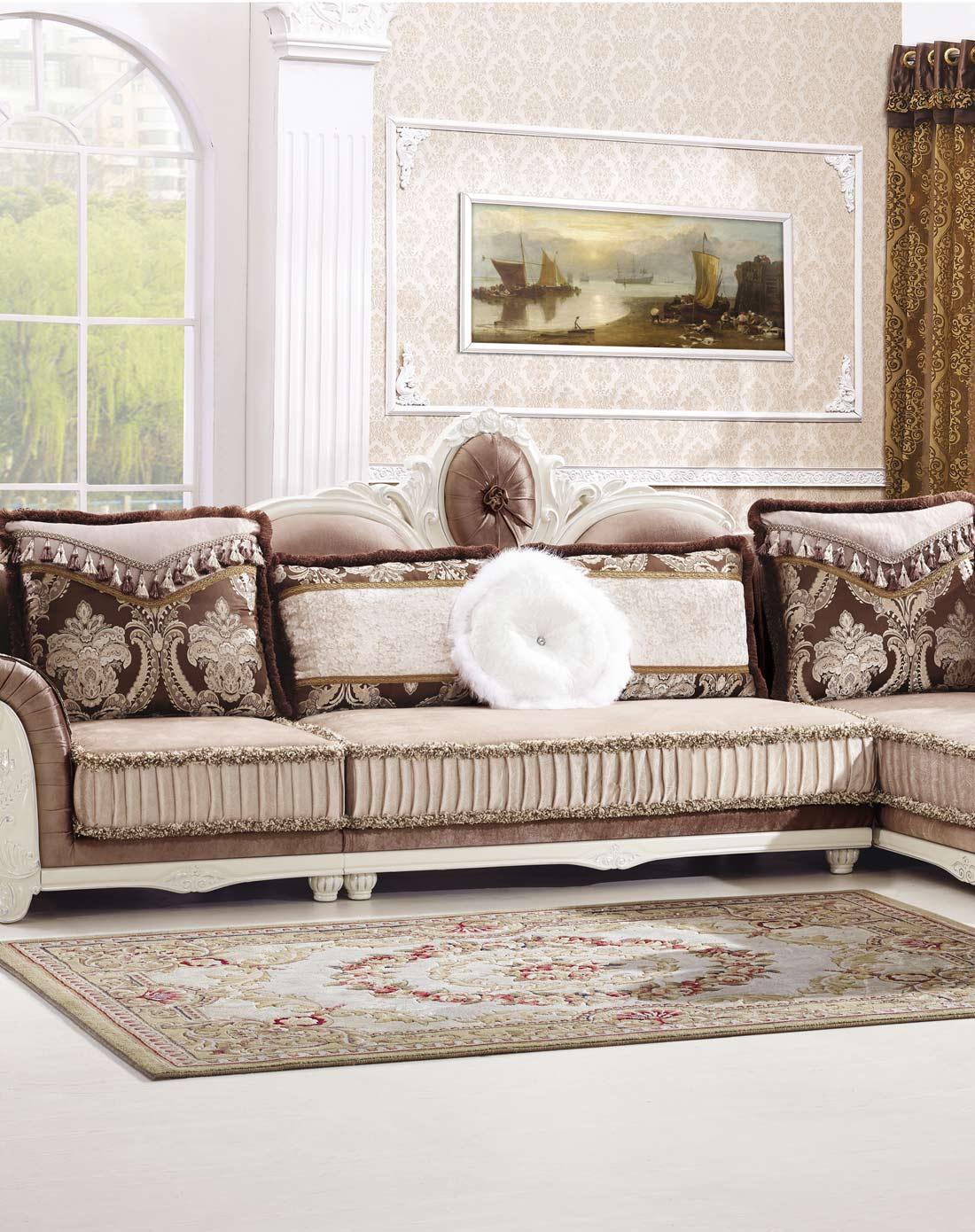 凯哲家具专场欧式转角实木雕花沙发组合+茶几+电视柜