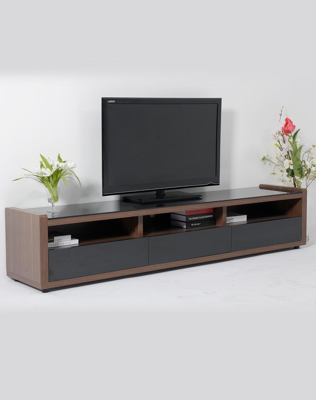 简约宜家实木钢化玻璃面电视柜