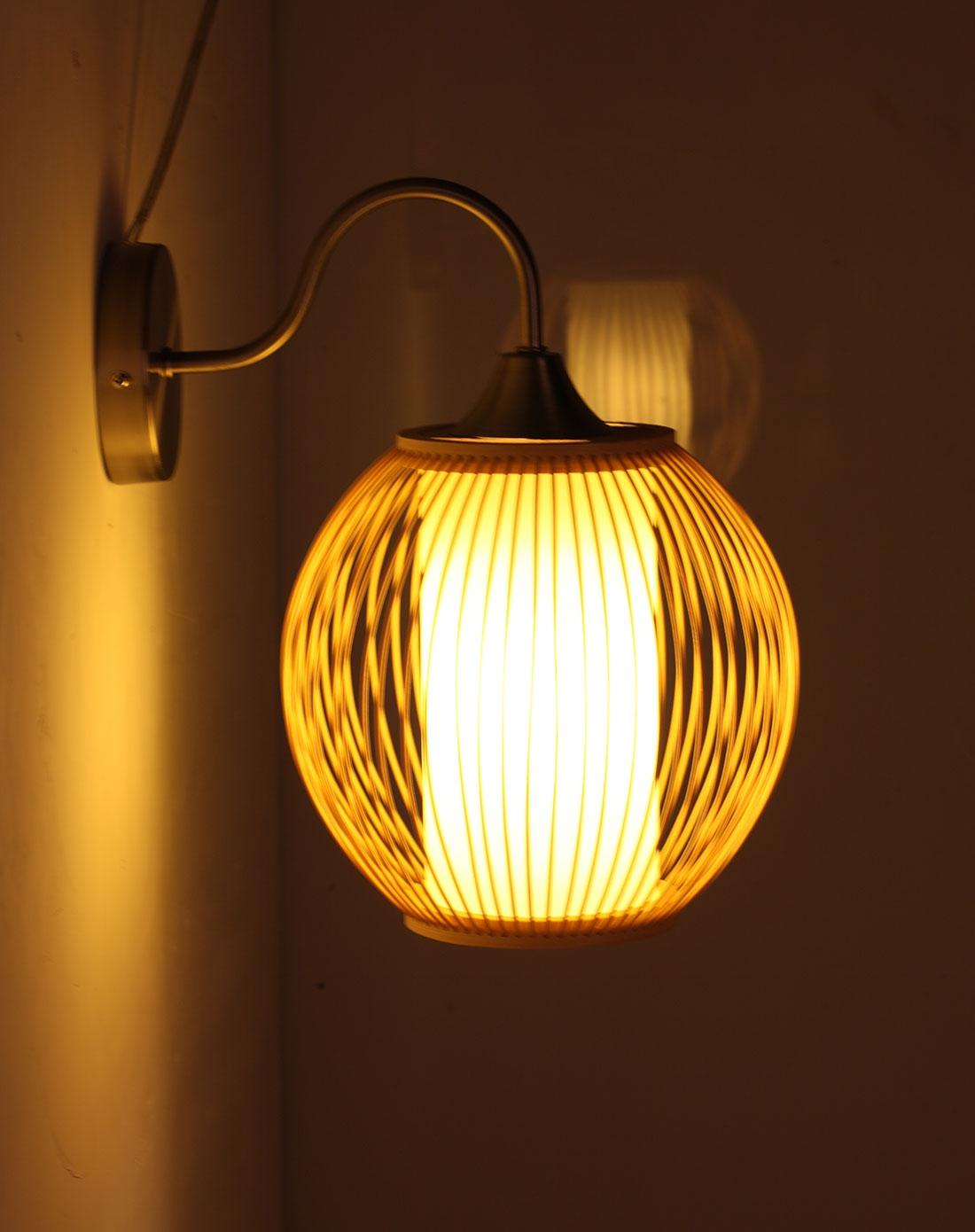 比月灯饰专场比月中式田园卧室床头手工竹编壁灯3190图片