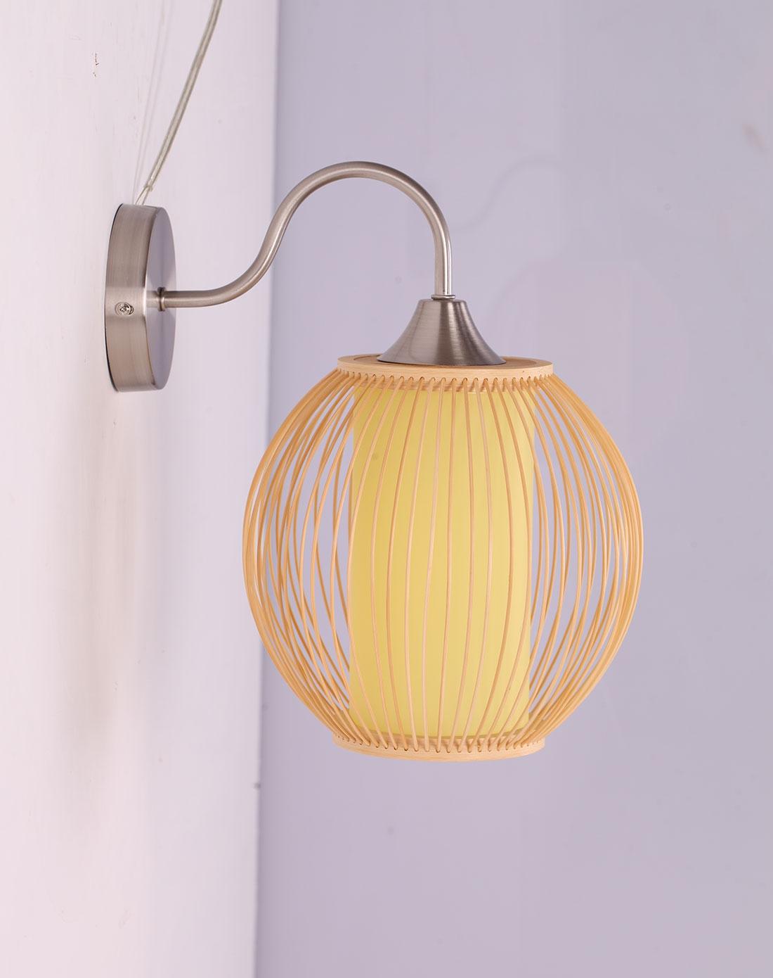 比月中式田園臥室床頭手工竹編壁燈3190