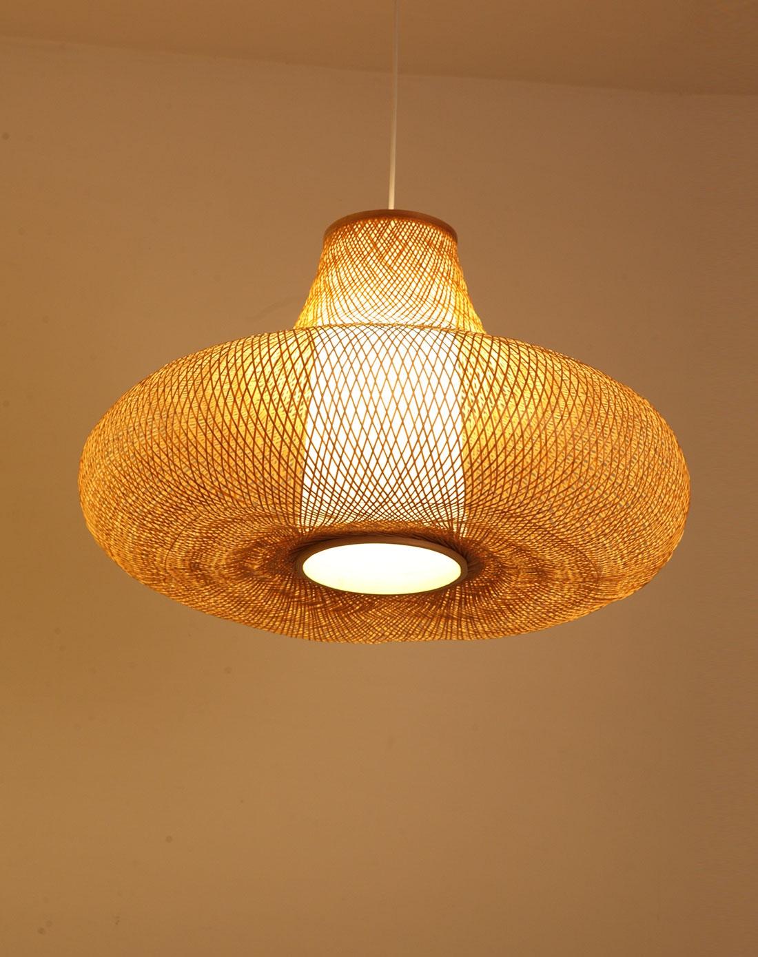 比月灯饰专场比月中式客厅田园创意竹编吊灯3159小号图片