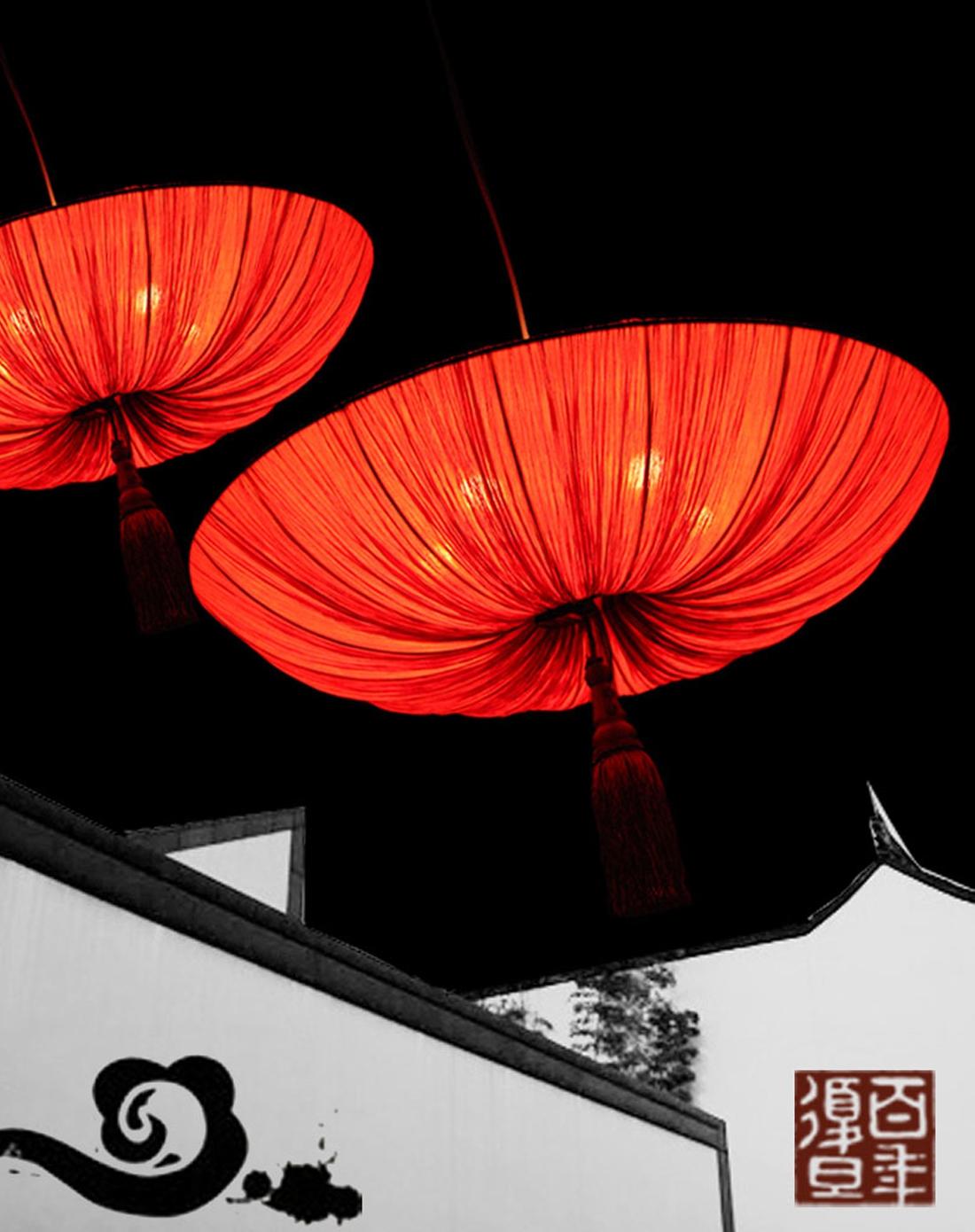 比月中式客厅创意红灯笼吊灯2040小号