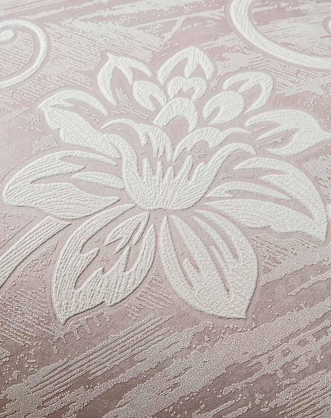 粉红欧式立体3d大花无纺布墙纸图片