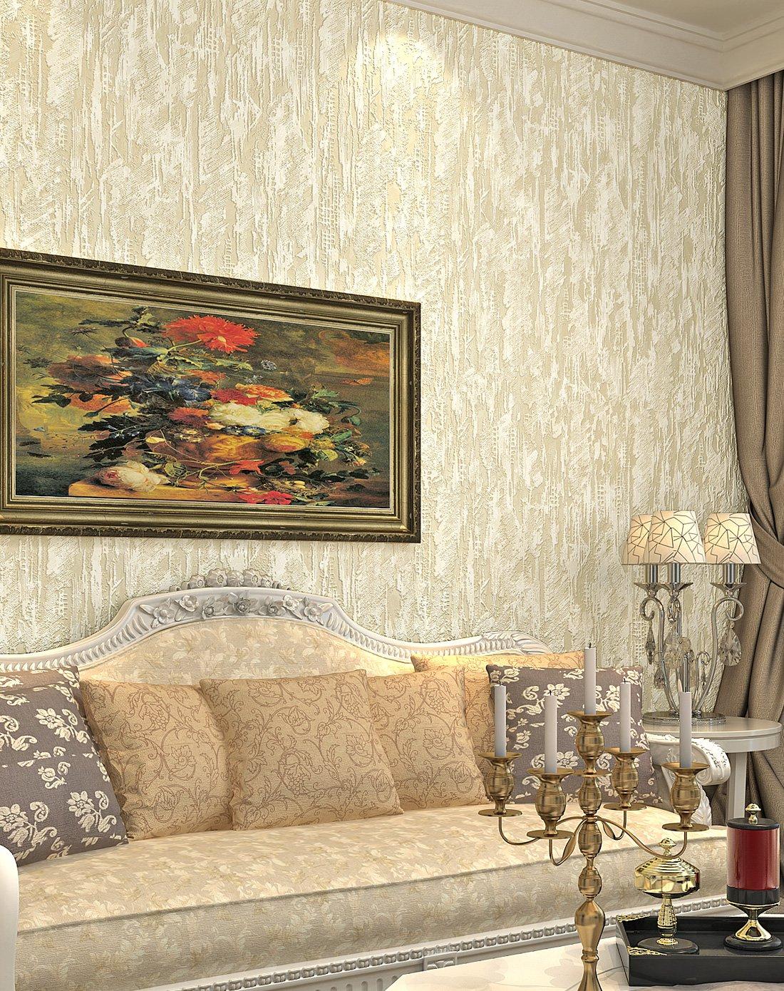 米黄色3d立体硅藻泥素色简约卧室客厅墙纸