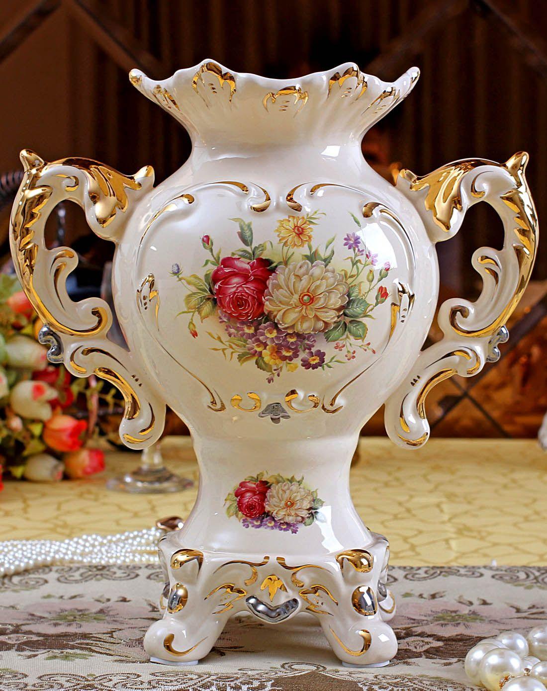 朵兰舍-欧式描金陶瓷花瓶-高26cm图片