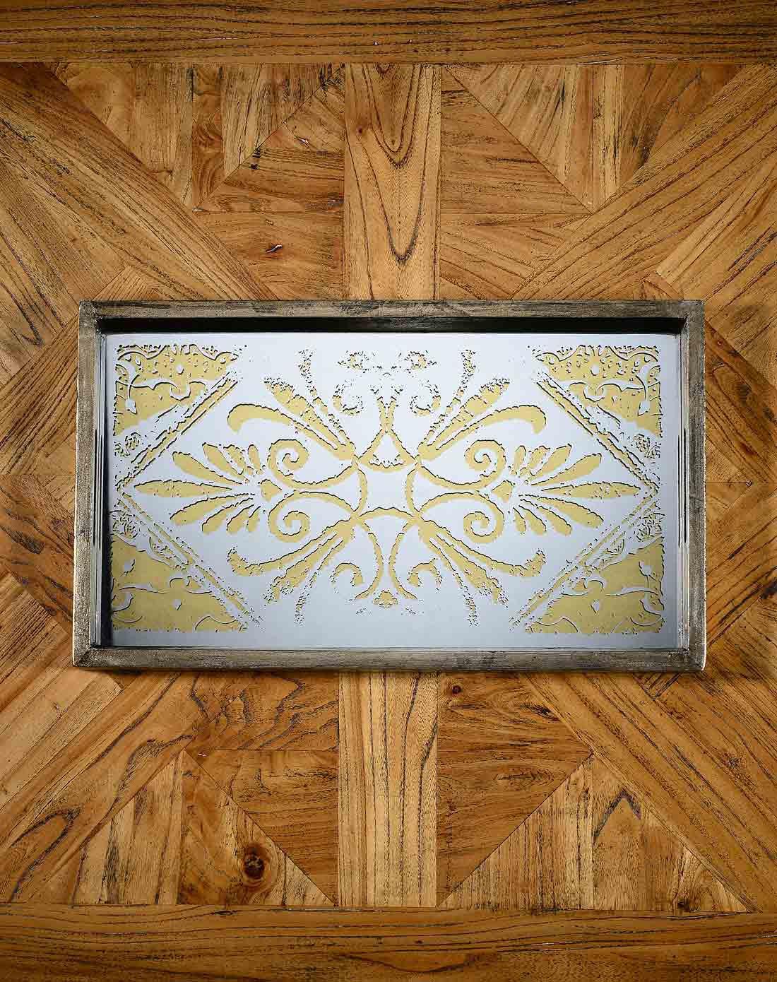 复古风尚洛可可花纹镜面长方形托盘a款