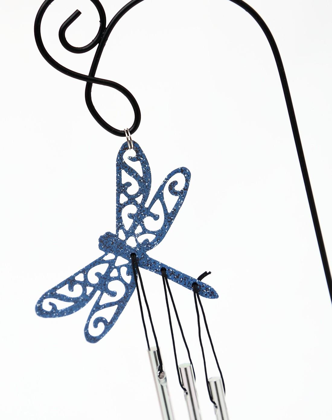 金属喷绘盆栽花插剪影风铃-蜻蜓
