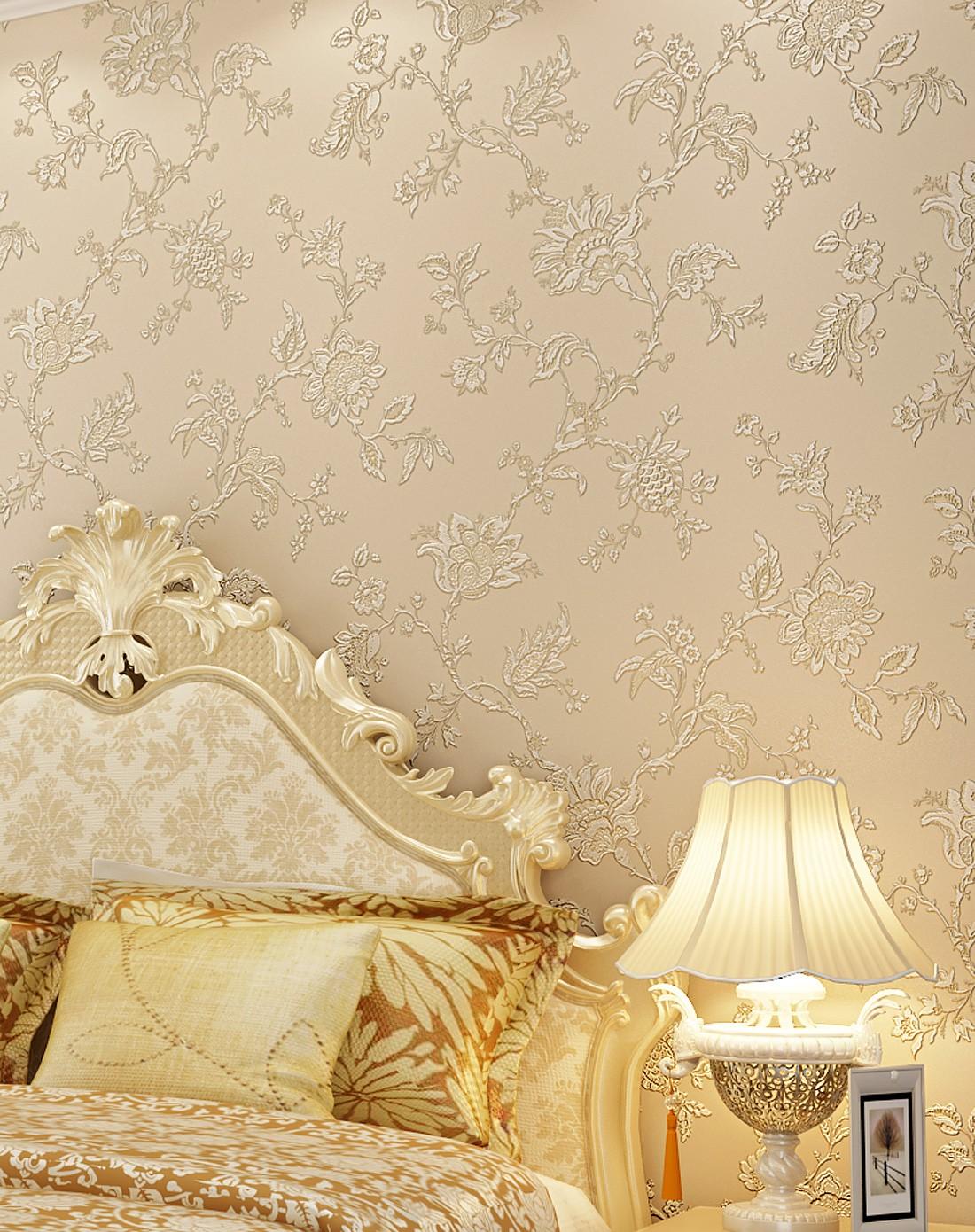 纸尚美学墙纸专场米黄色3d浮雕欧式简约风格立体壁纸图片