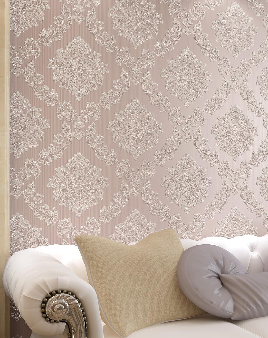 微粉色欧式奢华圆网鎏金无纺布墙纸