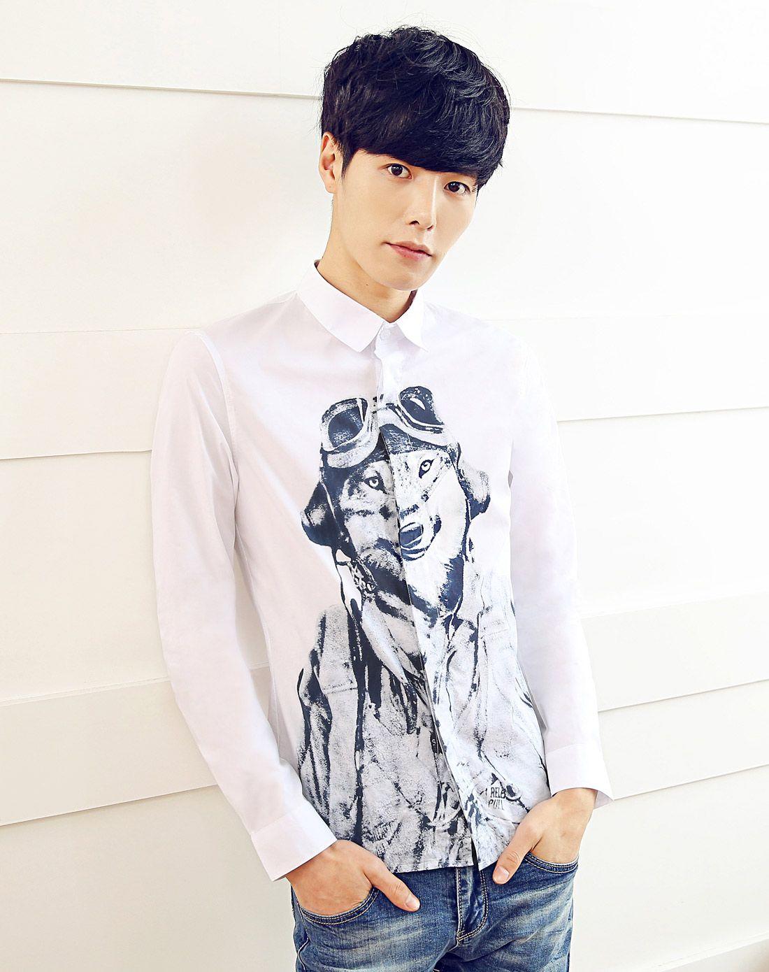 男白色创意动物印花休闲长袖衬衫