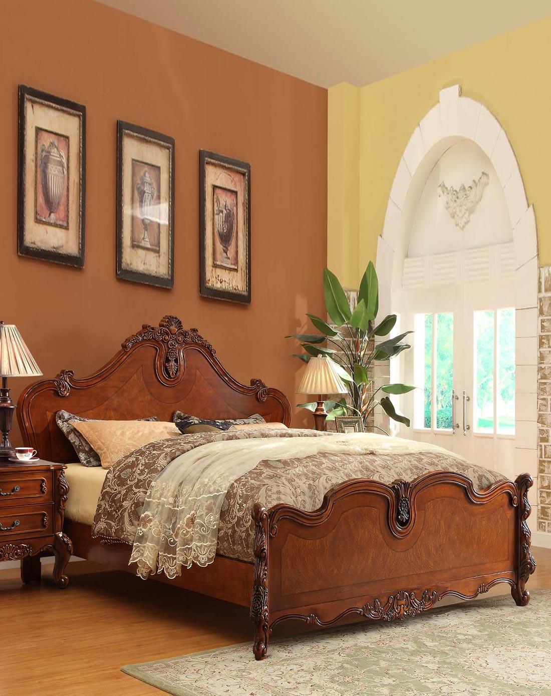 美式实木床欧式雕花床 1.8m