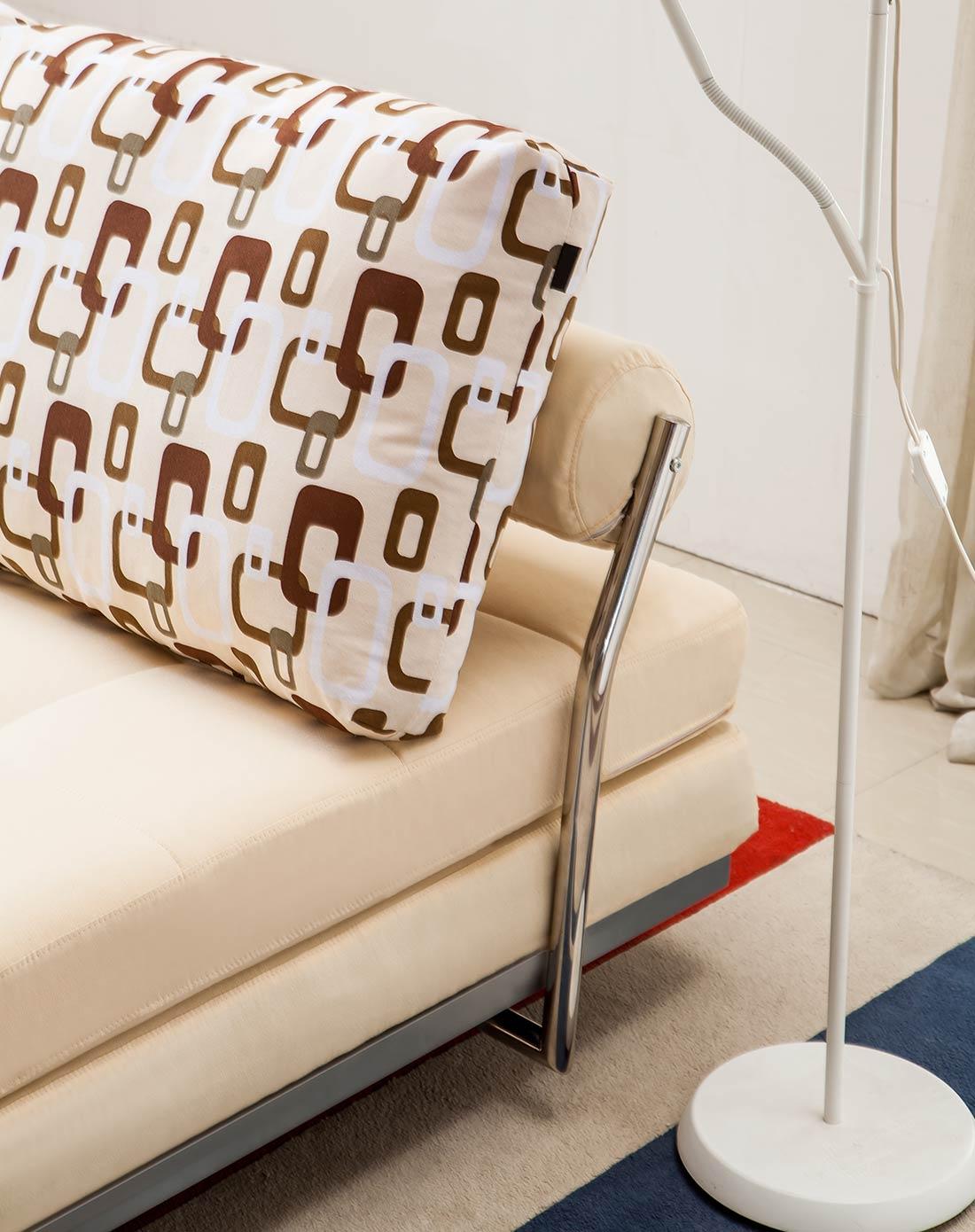 多功能钢架结构折叠沙发床 卡其色